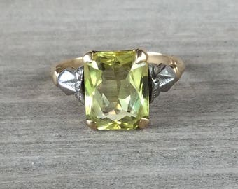 Synthetic yellow sapphire vintage ring