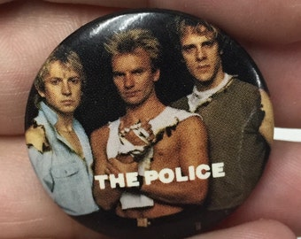 The Police band pin back button 1980s vintage concert pins