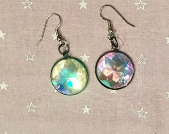 Iridescent/rainbow jeweled earrings