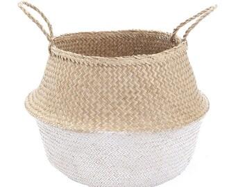 Sea Grass Foldable Belly Basket - DIPPED WHITE - Plant Basket / Beach Bag / Market Tote / Nursery Storage