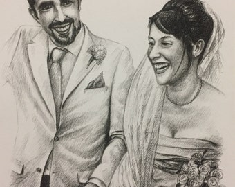 Anniversary gift, wedding gift, custom portrait, gift for her, gift for him, charcoal drawing, anniversary