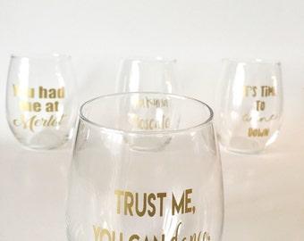 Stemless Wine Glasses (Gold) - Set of 4