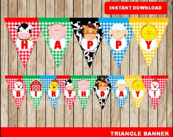 Farm triangle banner; Printable Farm banner, Farm party banner instant download