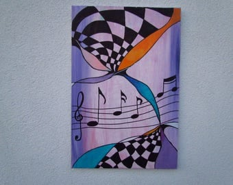 Original MisQue art   Abstract acrylic painting music 40x60cm