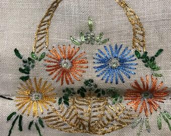 Vintage Hand embroidered dresser or table runner