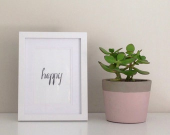 Hand drawn 'Happy' quote framed