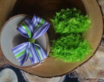 SALE! Lime and purple bow set