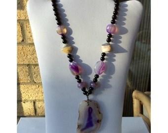 Gemstone necklace, gemstone pendant necklace, beaded necklace, pendant necklace, purple necklace, black necklace, chunky necklace, agate