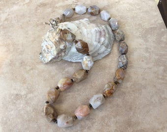 Botswana agate gemstone necklace, chunky necklace, statement necklace, large stone necklace, cream necklace, brown necklace, fashion necklac
