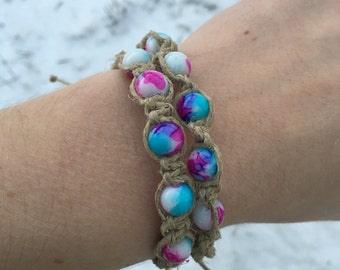Hemp Bracelet with Tye Dye Beads - Spiral or Square Knot - Men and Women