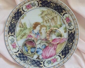 Vintage mini victorian style jewelry plate dish