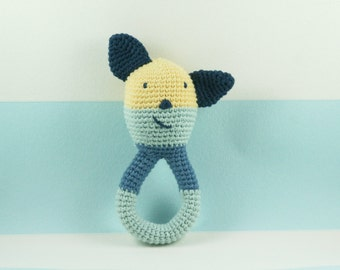 Baby rattle, crochet rattle, blue baby toy, birth gift, blue rattle, baby gift, baby room decoration, baby bedding,