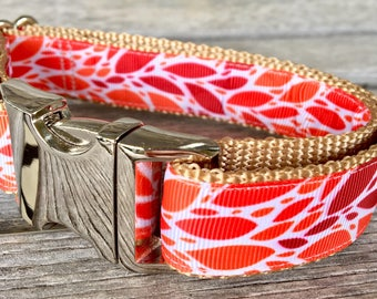 """This Collar's on Fire 1"""" Wide Dog Collar, Red Dog Collar, Orange Dog Collar, Abstract Print Dog Collar"""