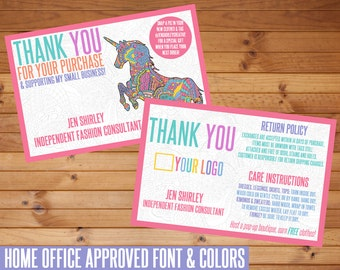 SALE! Thank You Card, Unicorn, Customized, Digital Download, HO Approved Fonts, Marketing, Thank You, Business Items, Direct Sales, LLR