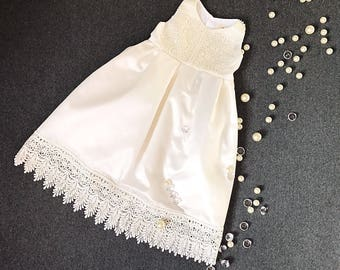 Silk dupioni baby girl's christening gown, ivory church dress, communion girl's dress, infant baptism gown, special occasion dress