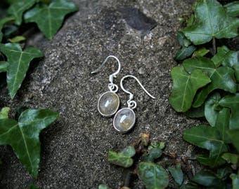 Unusually Beautiful Rutilated Quartz Drop Earrings, Sterling Silver