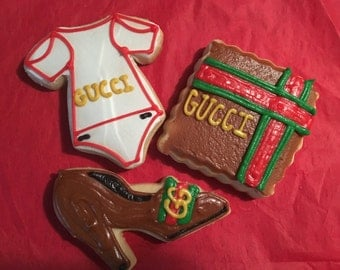 1 dozen individually wrapped Gucci inspired  favor cookies