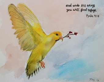 bird painting,bird art, original painting, bird art,yellow bird,bird wall art