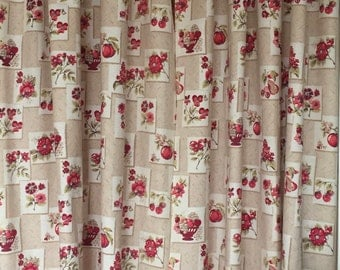 2 panel Vintage Kitchen Curtains with Flower and fruit Bowl MotifVintage kitchen curtains   Etsy. Kitchen Curtains Fruit Design. Home Design Ideas
