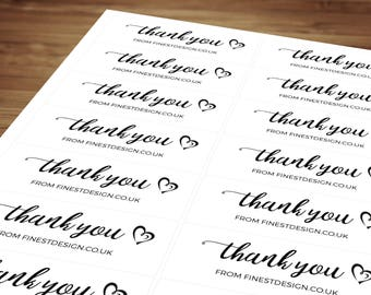 Personalised Order Thank You Stickers / Labels / Compliment Sheets Self Adhesive for Postage, Packaging, Products, Mailing