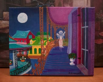 "New Orleans Art // French Quarter Art // Ghost Art // ""Spirit of NOLA"" // Original Painting // Signed by Artist"