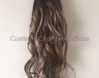 Brown Balayage  Clip in Hair Extensions, Human Hair Extensions, Balayage Hair, Brown Hair, Clip in Extensions, Ombre Extensions, Custom.