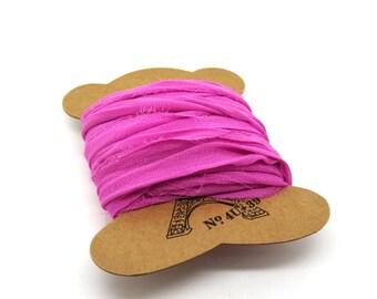 "Chiffon sari Silk Ribbon pink bubble gum ""SI0205"""