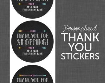 Stickers - Thank You Stickers - Chalkboard Thank You, Circle Thank You Sticker, Thank You Labels, Personalized, Custom