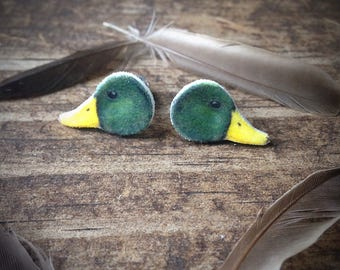 Mallard duck earrings jewelry ducks bird birds watching birder waterfowl