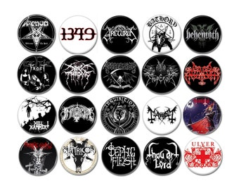 Black Metal band badges/buttons (venom, celtic frost,bathory,hellhammer,darkthrone,mayhem,ulver and more)