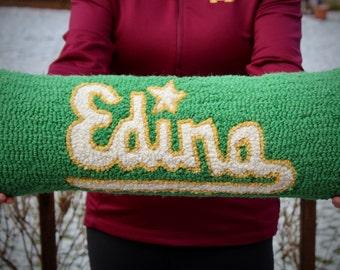"Custom-Made ""Edina"" Hooked Wool Pillows"
