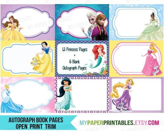 Character Design Book Pdf Download : Disney princess autograph book printable diy instant download