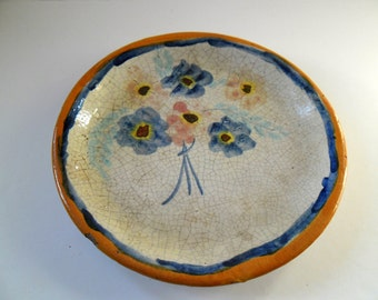 Antique Hand painted terracotta plate