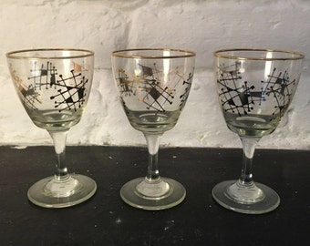 3 Vintage Atomic Wine Glasses Black and Gold