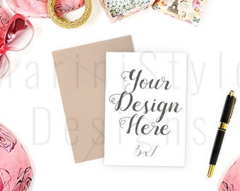 5x7 Invitation Styled Stock Photography, 5x7 Card Mockup, Card & Envelope Mockup, PSD, Stock image, Stock Photo, Stationery Mock up, 503