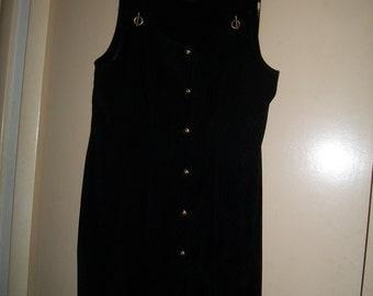 Vintage 90s Long Black Jumper Dress Size 12