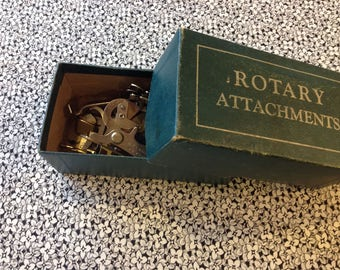 Box of Vintage Greist Sewing Machine Parts In Box, Feet
