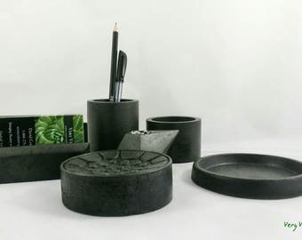Concrete Office Desk Set