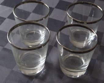 Mid Century Modern Silver Rim Low Ball Glasses (4)