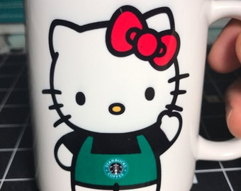 Custom Made Starbucks with Hello Kitty style Coffee Mug with your name