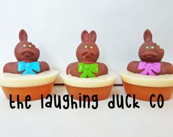 Bunny Rabbit Soap, Rubber Ducky Soap, Chocolate Scent, Shea Butter & Glycerin Soap, Grease, Rubber Duck, Toddler Gift Idea, Toy, Easter