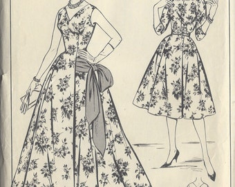 "1950s Vintage Sewing Pattern B36"" Evening and  Short Dress  & Jacket  (R355) Woman  W387"
