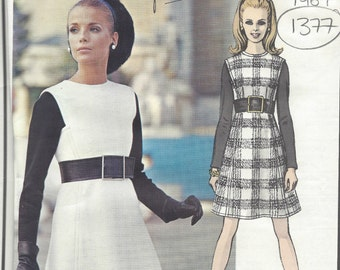 1967 Vintage Vogue  Sewing Pattern B36 Dress (1377) By YVES SAINT LAURENT