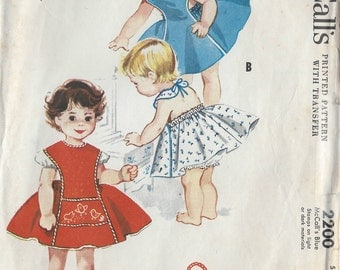 "1957 Childrens Vintage Sewing Pattern S3 Breast 22"" PINAFORE (C3) McCall's 2200"