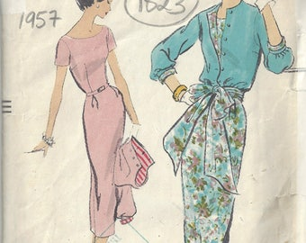 1957 Vintage VOGUE Sewing Pattern B34 DRESS & JACKET (1823) By Vogue 9094