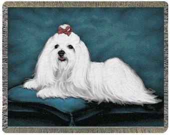 Personalized Maltese Dog Throw Blanket