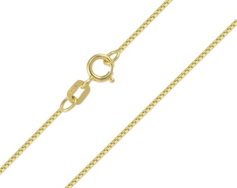 """10K Solid Yellow Gold Box Necklace Chain 0.6mm 16-24"""" - Polished Link"""