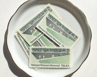 5 Vintage Unused Postage Mail Stamps US // vietnam veterans memorial mint green black // 20 cents // 1984