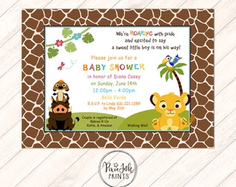 Simba Baby Shower Invitation, Jungle Baby Shower Invitation, Simba  Invitation, Jungle Baby Shower