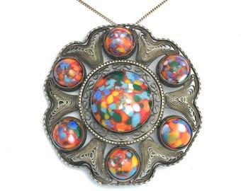 Huge Vintage Silver Filigree Marbled Art Glass Pendant
